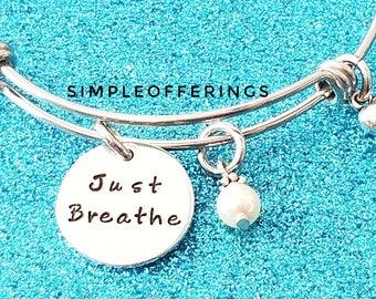 Just Breathe Bracelet, Breathe, Breathe Bracelet, Yoga Bracelet, Yoga Jewelry, Inspirational Quote, Inspiration Bracelet, Yoga Instructor