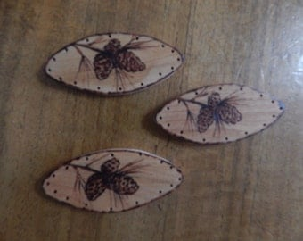 3 Wood Burnt Image of Pine Cones on an Elongated Board Basket Bottom or Other Craft Projects