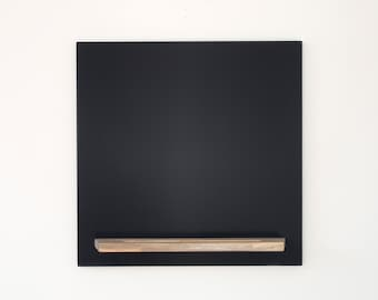 Hanging Chalkboard - 20 X 20 Modern Square with Blue Pine Wood Tray