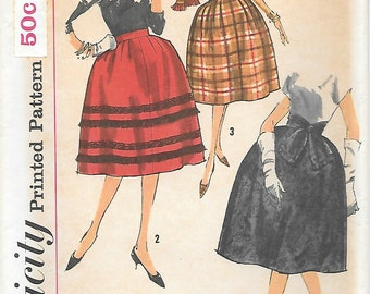 Simplicity 3623 UNCUT 1960s Skirt Stole Sash Vintage Sewing Pattern Bell Shape Waistband Waist 24