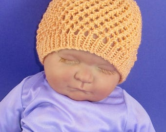 50% OFF SALE Instant Digital File PDF Download knitting pattern only- Baby Simple Lace Skullcap Hat  pdf download knitting pattern