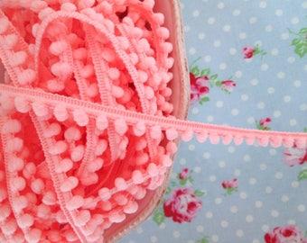 Baby Pom Pom Trim - Bubblegum Pink - 1/4 inch Ball Fringe - 3 Yards