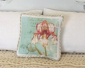1:12 Pillow - Iris French Collage - Dollhouse Scale Miniature - Shabby Cottage Spring  *Free Shipping*