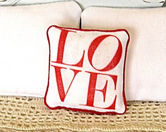 1:12 Pillow LOVE - Dollhouse Scale Miniature Shabby Cottage Chic Valentine **Free Shipping**