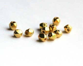 5mm Gold tone metal nugget beads - larger size 5mm. Faceted metal nugget beads.  Golden. For beading, leather wrap bracelet.  (WD10-a)