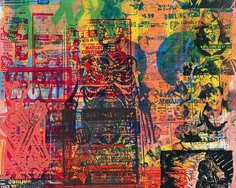 "Untitled #9 (38""x48"" monotype/screenprint on birch wood panel)"
