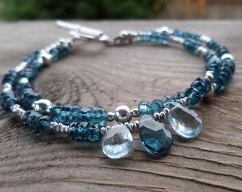 Genuine London Blue Topaz, Swiss Blue Topaz and Sterling Silver Gemstone Birthstone Bracelet