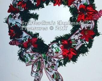 Wreath, Christmas Wreath, Silk Floral Arrangement, Holiday Decoration, Home Decor, Door Decor, Wall Decor, Ready To Ship, USA Made