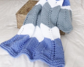 Hand Knit Chevron Baby Blanket, Bold Stripes Toddler Afghan, Ready To Ship, Warm Winter Modern Knit Lap Throw, Periwinkle Gray White ZigZag