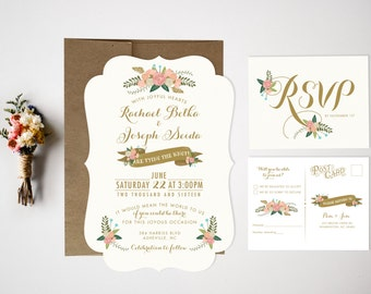 Wedding Invitation Bundle, Floral Invite, Vintage wedding invitation, Rustic Wedding Invitation, Wedding Invitation Set, Floral Invitation