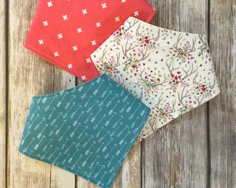 Baby Toddler Drool Bib Bandana Bibdana Waterproof - You Choose the Fabric - trendy floral teal arrows antlers crosses