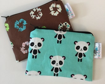 Reusable Machine Washable Zippered BPA-Free Snack-Loc Large Sandwich Small Snack Bag - Recycle Earth Day Zoologie Pandas on Aqua