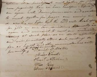 Antique 1885 Signed Document Forming Wednesday Night Prayer Meetings from Rustysecrets