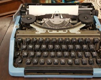 Vintage Blue Portable Brother Typewriter from Rustysecrets