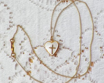 Delicate Vintage Estate Small 12 K Gold Filled Heart Shaped Locket with Carved Mother of Pearl / MOP, Gold Cross, Chain, Heart, Two Sides
