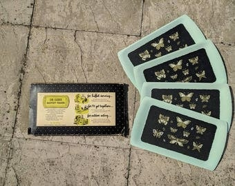 Vintage 1950s Deluxe Set of 4 TV buffet serving trays with gold and black butterflies in original packaging