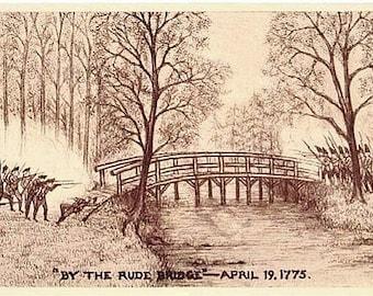 Antique Patriotic Postcard - The American Revolution ... Battle of Concord (Unused)