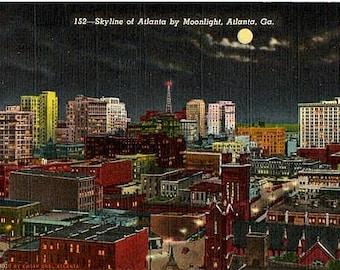 Vintage Georgia Postcard - Skyline of Atlanta by Moonlight (Unused)