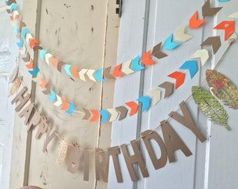 Boys Happy Birthday Banner. Woodland Birthday Party Supplies.  Boho Modern Birthday Sign