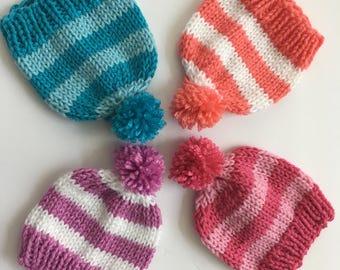 Newborn Knit Hat, Newborn Striped Hat, Newborn Pom Pom Hat, Newborn Photo Prop, Newborn Pom Pom Hat
