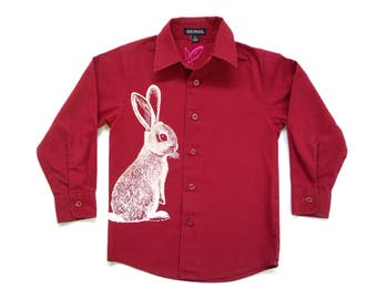 Easter Bunny marroon dress shirt - eco screenprint on upcycled long sleeve cotton shirt - size boys 4 years