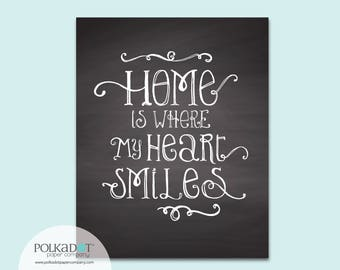Home is Where My Heart Smiles Chalkboard Style Framable Print