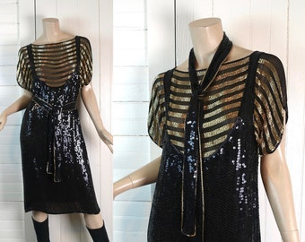 Beaded Suspender Dress By St. Martin- 1980s Disco / Punk / New Wave / 80s Studio 54 / Mime / Sequin- Black & Gold