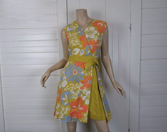Mod Floral Romper Mini Dress- 1960s / 60s in Chartreuse Yellow- Medium / Large