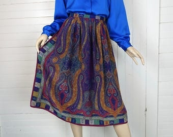 Silk Skirt in Paisley Jewel Tones- 1990s / 90s Work / Office / Secretary- Medium