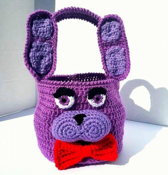 Bonnie Basket Plush Bin Bag, Bonnie Amigurumi, FNAF Amigurumi Bag Bin Basket, Five Nights at Freddys Bag Bin Basket Plush, Easter Halloween