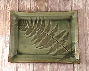Handmade Pottery Plate, Ceramic Serving Dish, Decorative Plate, Fern Leaf, Serving Tray, Rustic Decor, Housewarming Gift, 261