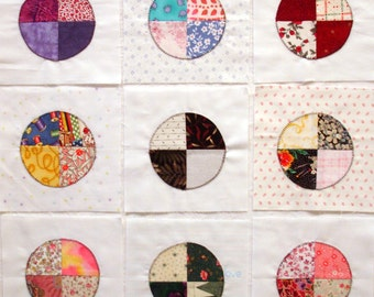 Handmade Mini Bulls eye Appliqued Quilt Blocks