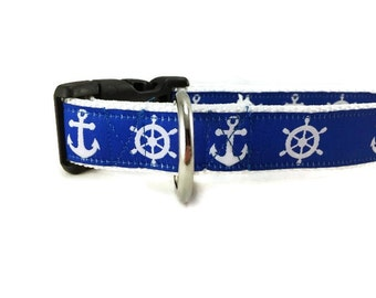Dog Collar, Nautical, 1 inch wide, adjustable, quick release, metal buckle, chain, martingale, hybrid, nylon