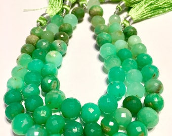 Chrysoprase 8mm faceted round beads full 7 inch strand shaded green Australian chrysoprase