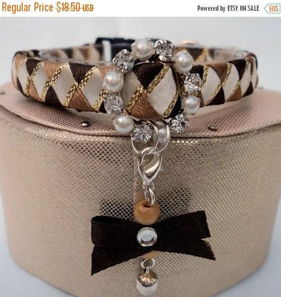 ON SALE Designer Cat Collar Breakaway Brown