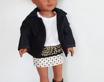 """18"""" Doll Clothes, 18 inch doll outfit, Dolls jacket, doll skirt, doll t-shirt, doll boots, 4 piece dolls outfit, 18 inch doll fashion set"""