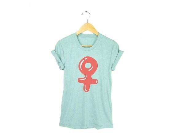 Candy Coated Feminist Icon Tee -  Female Symbol Boyfriend Fit Crew Neck Tshirt with Rolled Cuffs in Heather Mint & Bubblegum - Women's S-3XL