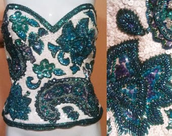Stunning Oleg Cassini Bustier / Beaded Bustier Top / Beaded Top / Hollywood Glam / Prom Party Wear