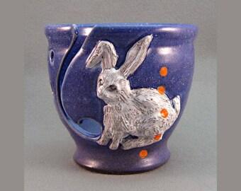 Yarn Bowl Right Handed RABBIT Purpled Blue Regular Size