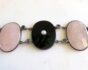 Circa 1930 Rose Quartz, Onyx and Pearl Link Bracelet