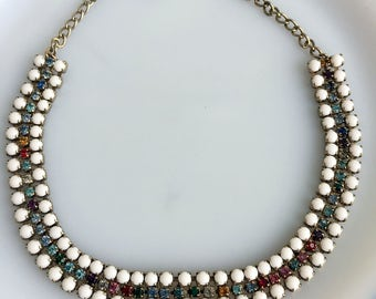 Vintage Art Deco 3 Row Rhinestone Collar Choker Necklace Milk Glass and Colored Glass