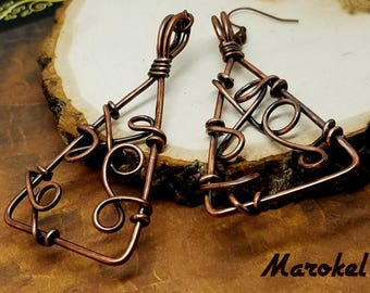 Bramble Triangle Earrings Oxidized Copper Wire Wrapped Abstract Minimalist