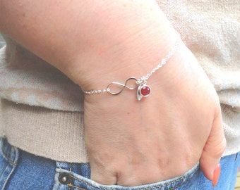Personalized Silver Infinity Birthstone And Initial  Bracelet Sterling Silver Mothers Bracelet Friendship Bracelet