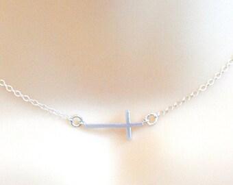 Silver Cross Necklace, Sideways cross, Dainty Cross Necklace
