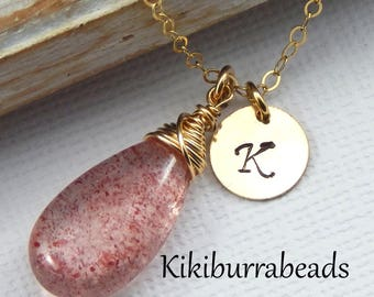 Pink Gemstone Necklace With Gold Initial,Personalized Necklace,Bridesmaids Gift,Pink Quartz Necklace,Pink Gemstone
