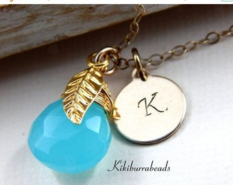 Mothers Day Sale Personalized Chalcedony initial necklace, gold initial necklace, monogram necklace,  Personalized Gold Filled Necklace
