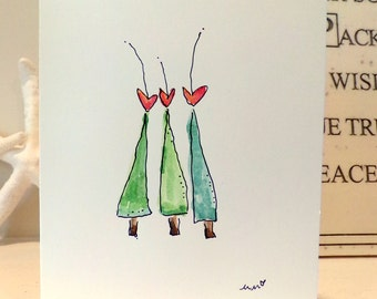 "Three Trees Wreath Watercolor Original 4"" x 6"" Card and Envelope Inside Of Card is Blank betrueoriginals"