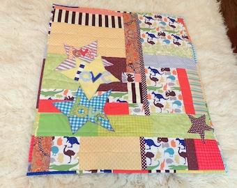 "Baby Boy Quilt ""Koala Bears Panda Kangaroo""  Wall Hanging, 42"" Wide x 50"" LongCotton Patchwork Quilt Fabric betrueoriginals"