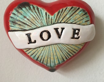 Love Heart Pod Wall Art Large with Turquoise Center
