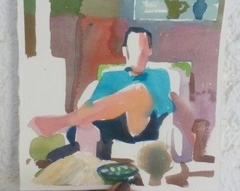 Man with blue shirt in the sunlight- original watercolor painting